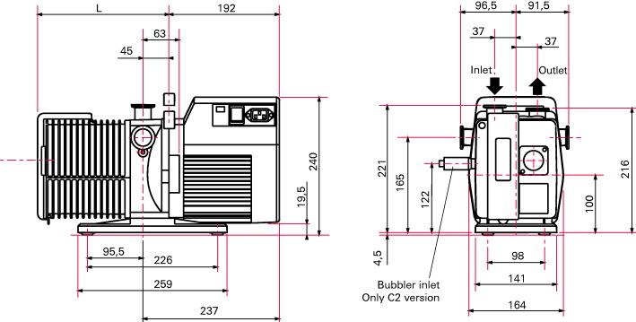 Pfeiffer Adixen 2021SD 14 6 CFM Two Stage Rotary Vane Vacuum Pump